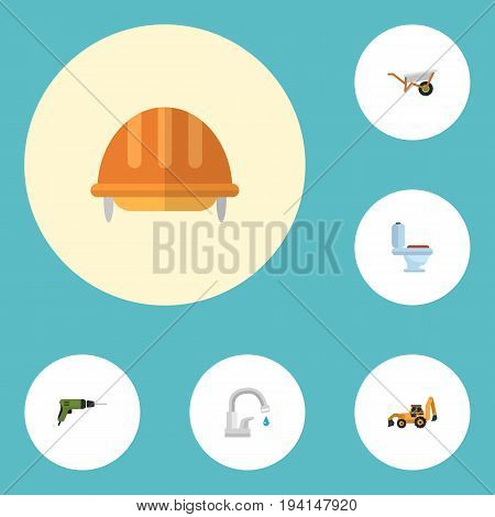 Flat Icons Restroom, Excavator, Electric Screwdriver And Other Vector Elements. Set Of Construction Flat Icons Symbols Also Includes Tractor, Hardhat, Wheelbarrow Objects.
