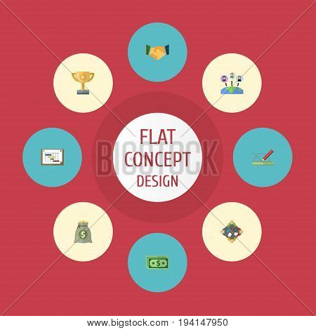 Flat Icons Discussion, Cash, Income And Other Vector Elements. Set Of Idea Flat Icons Symbols Also Includes Profit, Outsource, Cash Objects.