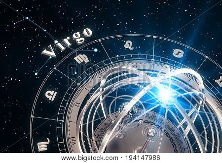 Zodiac Sign Virgo And Armillary Sphere On Black Background. 3D Illustration.