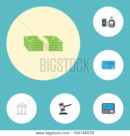 Flat Icons Payment, Atm, Remote Paying And Other Vector Elements. Set Of Banking Flat Icons Symbols Also Includes Stack, Money, Payment Objects.