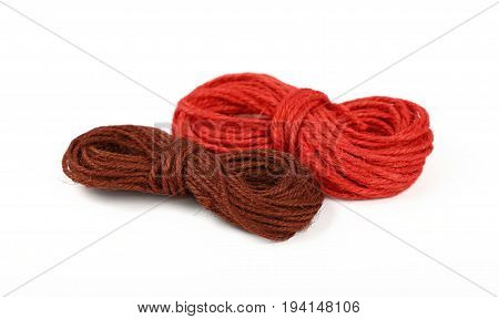 Two Jute Twine Coil Skeins Isolated On White