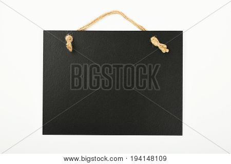 Black Chalkboard Sign Isolated On White