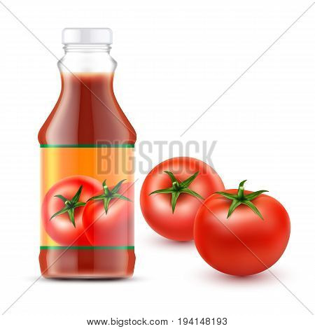 Set of vector illustrations of a glass or plastic transparent bottle tomato ketchup with label for branding and two fresh red tomatoes in a realistic style isolated on white.