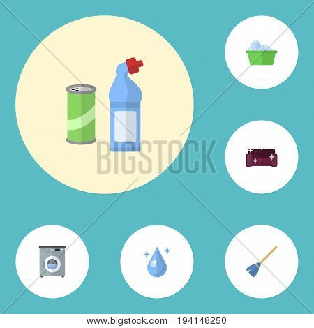 Flat Icons Besom, Laundry, Laundromat And Other Vector Elements. Set Of Cleaning Flat Icons Symbols Also Includes Drop, Washing, Whisk Objects.