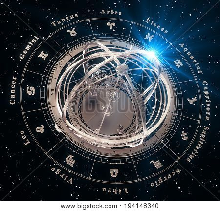 Zodiac Signs And Armillary Sphere On Black Background. 3D Illustration.