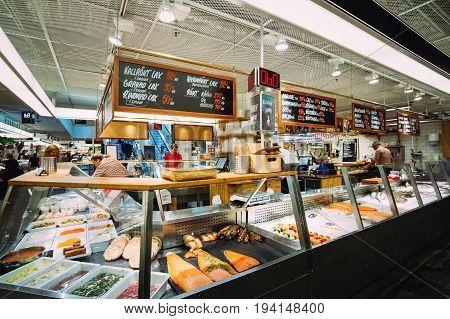 Stockholm, Sweden - Jule 30, 2014: Stockholm Sweden. Trade In Traditional Swedish Food Seafood In The Local Hay Market Hotorget.