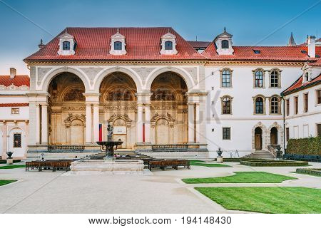 Prague, Czech Republic - October 9, 2014: Prague Czech Republic. Wallenstein Palace Currently The Home Of The Czech Senate In Prague. Senate Of The Parliament Of The Czech Republic