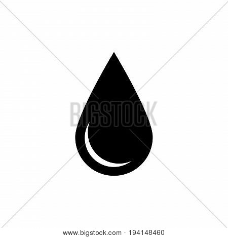 Black drop icon. Oil or water symbol. Simple flat vector illustration with shadow isolated on white background.
