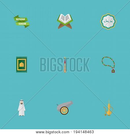 Flat Icons Decorative, Arabian, Artillery And Other Vector Elements. Set Of Religion Flat Icons Symbols Also Includes Muslim, Mosque, Minaret Objects.