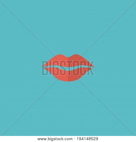 Flat Icon Lips Element. Vector Illustration Of Flat Icon Kiss Isolated On Clean Background. Can Be Used As Lips, Kiss And Mouth Symbols.