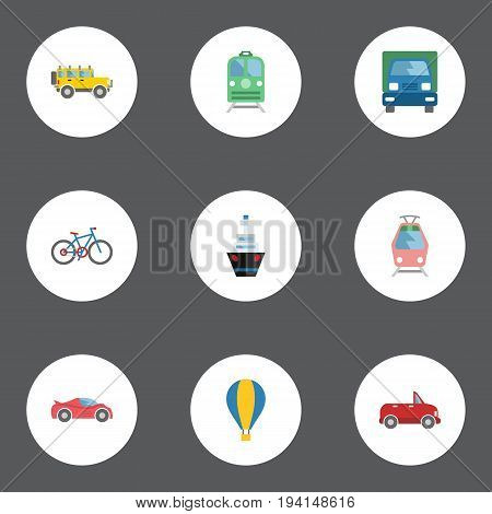Flat Icons Jeep, Boat, Metro And Other Vector Elements. Set Of Vehicle Flat Icons Symbols Also Includes Balloon, Freight, Sport Objects.