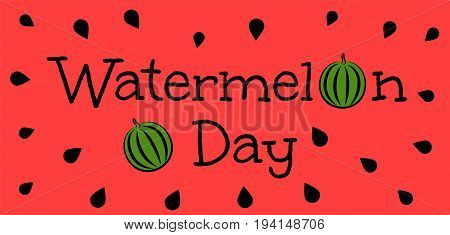 Watermelon Day. Red banner with green watermelons