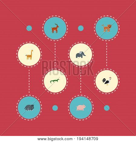 Flat Icons Moose, Rooster, Hippopotamus And Other Vector Elements. Set Of Zoo Flat Icons Symbols Also Includes Gazelle, Behemoth, Reptilian Objects.