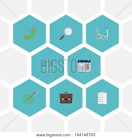 Flat Icons Calendar, Diagram, Telephone And Other Vector Elements. Set Of Job Flat Icons Symbols Also Includes Case, Loupe, Diagram Objects.