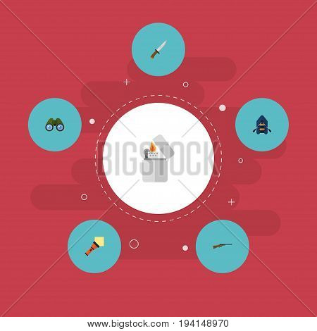 Flat Icons Lighter, Zoom, Cigarette And Other Vector Elements. Set Of Encampment Flat Icons Symbols Also Includes Ship, Lighter, Hunting Objects.