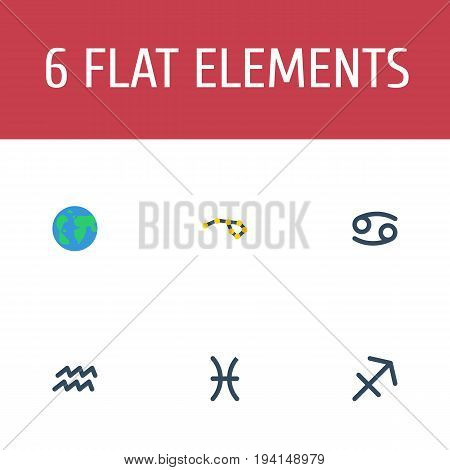 Flat Icons Archer, Fishes, Water Bearer And Other Vector Elements. Set Of Galaxy Flat Icons Symbols Also Includes Globe, Earth, Sagittarius Objects.