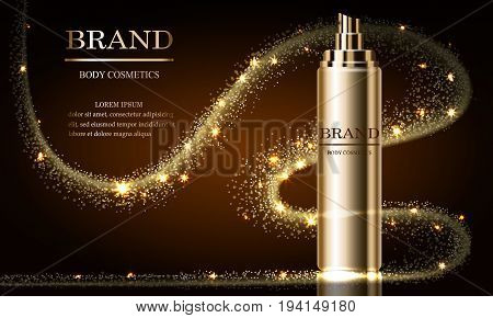 Cosmetics beauty series mockup ads of premium spray cream for skin care. Template for design posters placards presentations banners covers vector illustration.