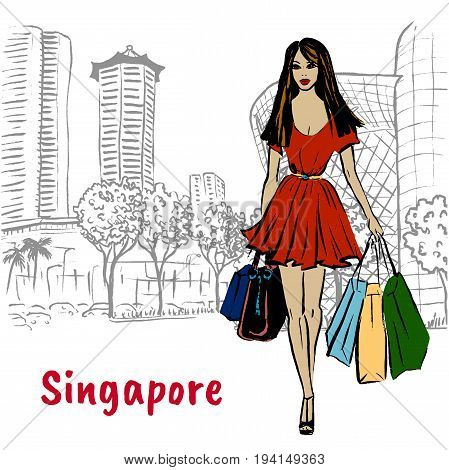 Hand-drawn sketch of woman with shopping bags on Orchard Road in Singapore