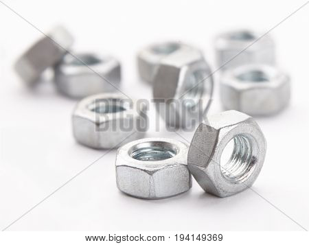 Mounting nut for bolts made of steel Metal hardware macro