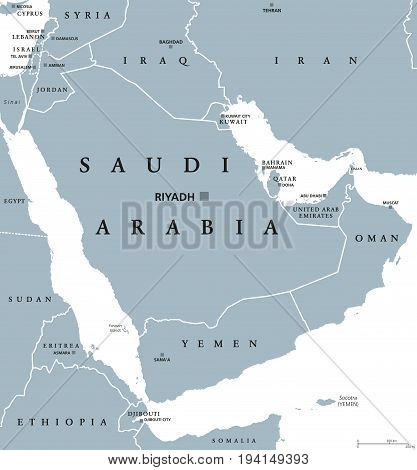 Saudi Arabia political map with capital Riyadh. Kingdom and Arab state in Western Asia and Middle East. Country on Arabian Peninsula. Gray illustration on white background. English labeling. Vector.