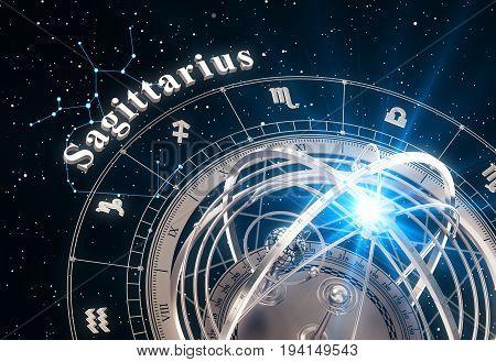 Zodiac Sign Sagittarius And Armillary Sphere On Black Background. 3D Illustration.