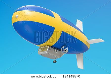 Airship or dirigible balloon with Swedish flag 3D rendering