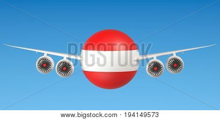 Austrian airlines and flying's concept. 3D rendering