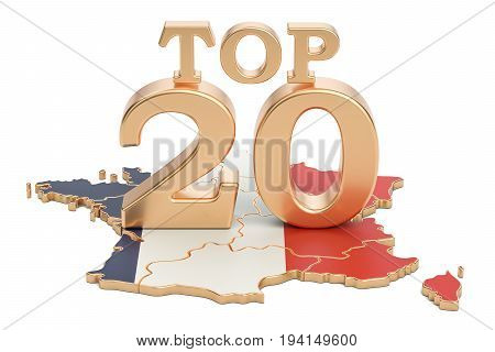 French Top 20 concept 3D rendering isolated on white background