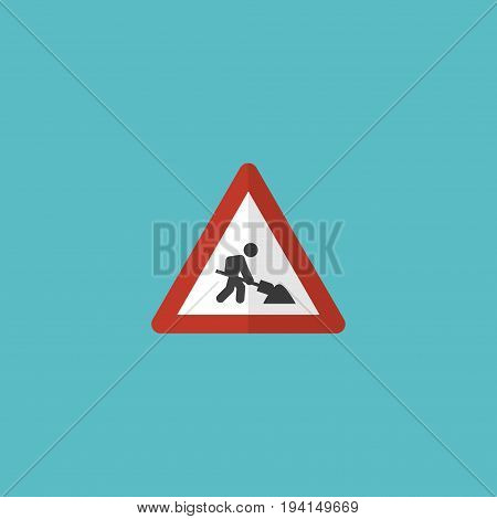 Flat Icon Workman Sign Element. Vector Illustration Of Flat Icon Caution Isolated On Clean Background. Can Be Used As Caution, Workman And Sign Symbols.