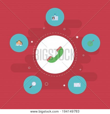 Flat Icons Group, Goal, Magnifier And Other Vector Elements. Set Of Trade Flat Icons Symbols Also Includes Zoom, Team, Loupe Objects.
