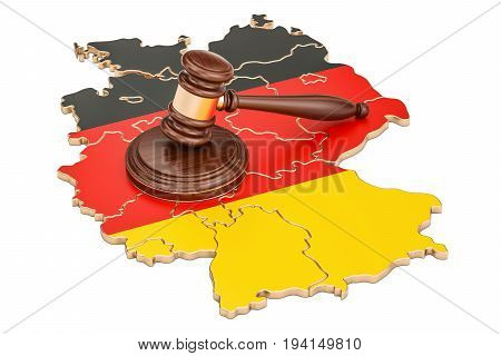 Wooden Gavel on map of Germany 3D rendering isolated on white background