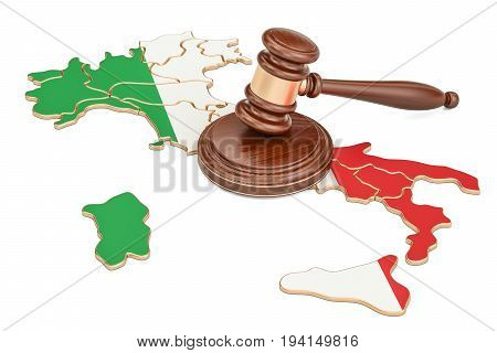 Wooden Gavel on map of Italy 3D rendering isolated on white background