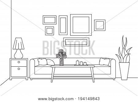 Sofa table vase with flowers. Bedside table desk lamp. Linear sketch of the interior in a modern style.