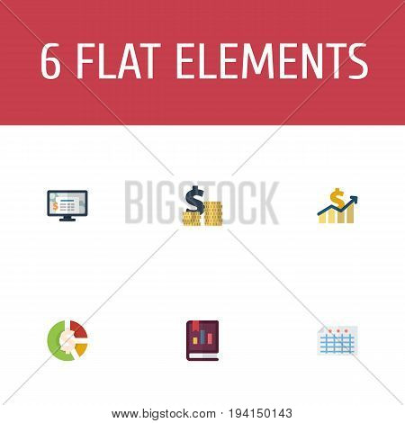 Flat Icons Sheet, Stock, Book And Other Vector Elements. Set Of Recording Flat Icons Symbols Also Includes Asset, Sheet, Increase Objects.