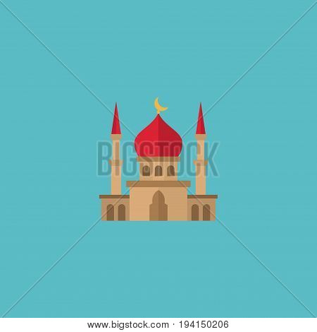 Flat Icon Mosque Element. Vector Illustration Of Flat Icon Minaret Isolated On Clean Background. Can Be Used As Mosque, Minaret And Building Symbols.