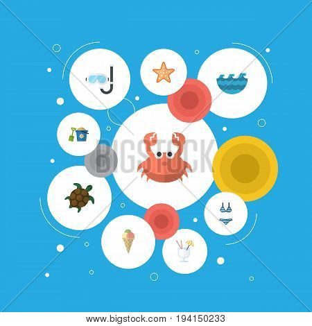 Flat Icons Drink, Cancer, Shovel And Other Vector Elements. Set Of Summer Flat Icons Symbols Also Includes Lobster, Diving, Waves Objects.