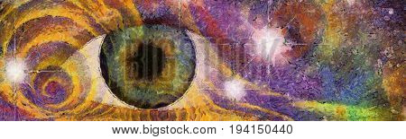 Hallucinogenic Style Eye and Pattern  3D Rendering   Some elements image credit NASA