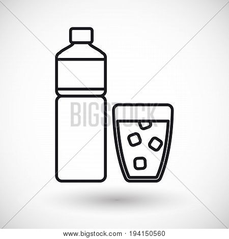 Bottle of water and glass vector thin line web icon Outline design of food health care of watering object with round shadow plastic water bottle illustration