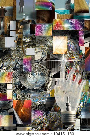 Complex Surreal Abstract Art  3D Rendering    Some elements image credit NASA
