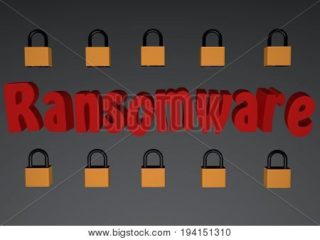 Ransomware text With locked padlocks 3d Rendered Computer Generated Image