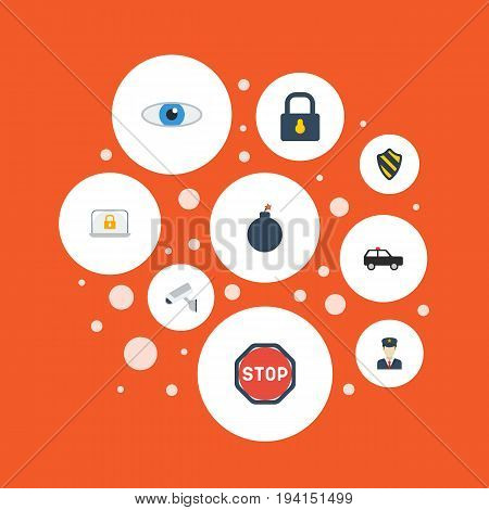 Flat Icons Explosive, Padlock, Policeman And Other Vector Elements. Set Of Procuring Flat Icons Symbols Also Includes Safe, Road, Suv Objects.