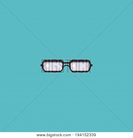 Flat Icon Glasses Element. Vector Illustration Of Flat Icon Spectacles Isolated On Clean Background. Can Be Used As Glasses, Spectacles And Eyeglasses Symbols.