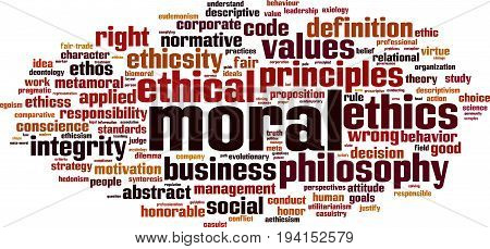 Moral word cloud concept. Vector illustration on white