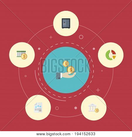 Flat Icons Safe, Profit, Stock And Other Vector Elements. Set Of Accounting Flat Icons Symbols Also Includes Account, Vault, Bank Objects.