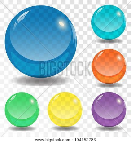 Illustration of Photorealistic Vector 3D Ball Set Template. Bright Colors Vector Ball Set Isolated on Transparent PS Style Background