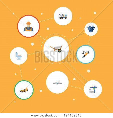 Flat Icons Pipeline Valve, Handcart, Worker Vector Elements. Set Of Construction Flat Icons Symbols Also Includes Loader, Workman, Backhoe Objects.