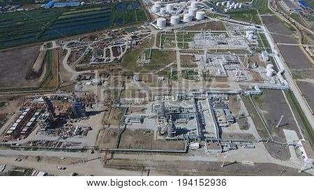 Oil Refinery Plant For Primary And Deep Oil Refining. Equipment And Tanks In The Oil Refinery. Recti