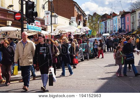 London United Kingdom - April 14 2015 : street view of Portobello Market in Notting Hill London.