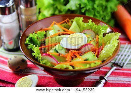vegetarian salad of fresh vegetables,quail eggs and flax seed