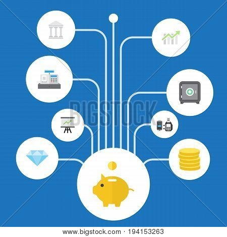 Flat Icons Remote Paying, Jewel Gem, Bar Diagram And Other Vector Elements. Set Of Banking Flat Icons Symbols Also Includes Bar, Diagram, Chart Objects.